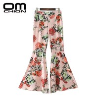 Fashion Autumn Trousers Women Casual Loose High Waist Pants Pink Floral Printed Flare Pants