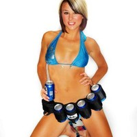 The Beer Belt Six Pack Holster With Cigarette and Money Storage Black