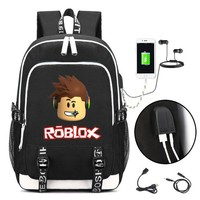 Boys Backpack Bag ROBLOX  with USB Charging Port and Lock &Headphone interface for College Student Work Men & Women AT_61_4