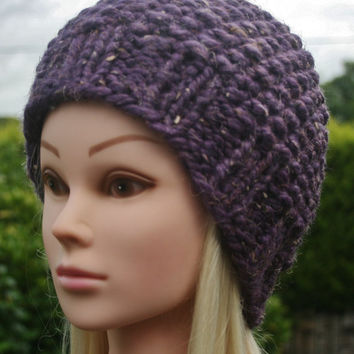 Hand Knit Hat Women's hat- Rustic Mega Chunky with wool- beanie hat- purple tweed- winter hat- women accessories