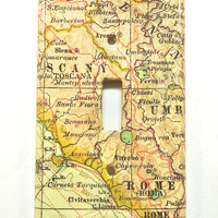 Florence and Rome Light Switch Cover- Antique Style Map of Florence and Rome Single Light Switch Plate