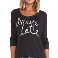 SUNDRY Always Late Cropped Pullover in Black