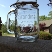 Grandma, Mason Jar Mugs, Grandma, This Grandma Belongs to...
