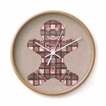 Wall Clock with Gingerbread Man in red and green plaid