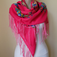 Pink  scarf floral scarf winter head scarf fringe shawl women scarves gift for her
