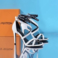 LV Louis Vuitton Sandals Shoes 100mm Stiletto Heel Patent Leather White Casual Women Slippers