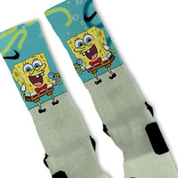 Spongebob Fast Shipping!! Nike Elite Socks Customized