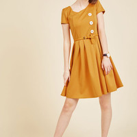 Happy Hosting A-Line Dress in Marigold | Mod Retro Vintage Dresses | ModCloth.com