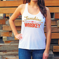 Sunshine and Whiskey | Flowy Racerback Tank Top | Women's Country Apparel