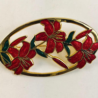 Oval Red Lilies Brooch Gold Tone Vintage