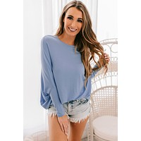 Casually Cute Dolman Sleeve Top (Blue Violet)