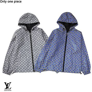 LV hot selling casual couple colorful fluorescent reflective trench coat coat