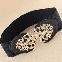 New arrival gold hollow out metal buckle elastic wide waist belt for women,fashion high quality hot sell brand cummerbunds