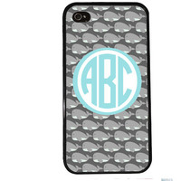 MONOGRAM WHALES Case / Easy Personalization iPhone 4 Case iPhone 5 Case iPhone 4S Case iPhone 5S Case Initials Name Summer iPhone 5C s5