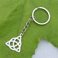 Stainless Steel Knot Keyring Super Hero Resident Evil Knot Triquetra Trinity Pewter Keychains for Men & Women