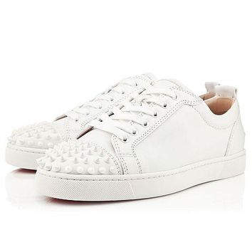 Christian Louboutin Louis Junior Spikes Men's Women's Flat White Leather 11305733047