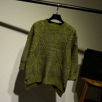 Womens Comfortable Solid Diamond Pullover Sweater