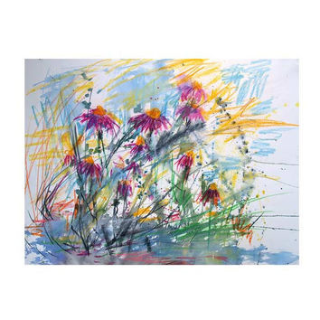 Expressive Purple Coneflower Original Mixed Media Painting 30 by 22 inches