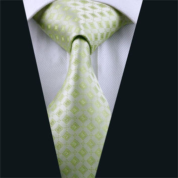 Mens Silk Tie Green Plaid NeckTie 100% Silk Jacquard Ties For Men Business Wedding Party