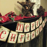 Christmas Decoration MERRY CHRISTMAS Double by bekahjennings