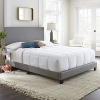 Boyd Sleep Montana Upholstered Platform Bed Frame Mattress Foundation with Headboard and Strong Wood Slat Supports: Faux Leather, Grey, King Grey (Faux Leather) Montana (Platform Bed)
