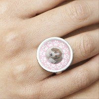 Pink paws pet lover photo ring