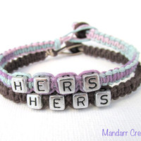 Hers and Hers Bracelets for LGBT Couples, Pastel and Dark Brown Handmade Hemp Jewelry - Black Friday Cyber Monday SALE