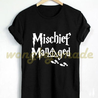 Harry Potter Halloween Shirt Mischief Managed T Shirt Gryffindor Black Grey Maroon and White Color T-Shirt