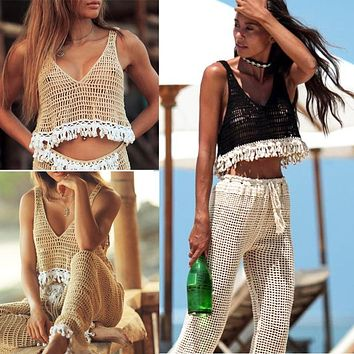 New hot-selling casual hollow trousers hand hook knitted sexy female beach pants or top optional
