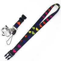 """Multi Colored Hearts 15"""" lanyard ID Hold MP3 Holder-Hearts Lanyard-New w/Tags!"""