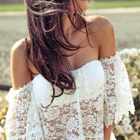 Sexy Lace Hollow Shirt Top Tee
