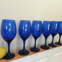 Cobalt Blue Wine Glasses, Set of 6 Tall Drinking Glasses, Colored Glass, FREE US Shipping