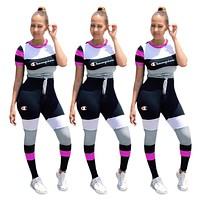 Champion New fashion letter print contrast color top and pants two piece suit women
