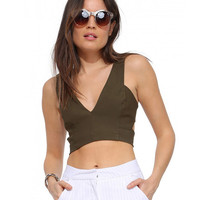 Sleeveless V-Neck Cut-Out Back Arched Cropped Top