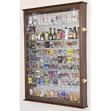 XL Shot Glass Display Case Rack Holder Cabinet w/Mirror Backed and 11 Glass Shelves -Walnut
