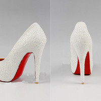 Luxury ,pearl covered high heels,Wedding Special Event Shoes