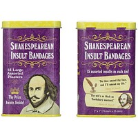 2 Pack Shakespearean Insult Bandages for Curs, Scoundrels, and Wretches | Funny Bandages in a Metal Tin