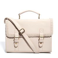 ASOS Large Satchel Bag With Scallop Trim And Front Buckles at asos.com