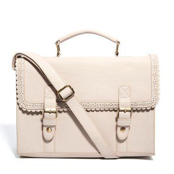 ASOS   ASOS Large Satchel Bag With Scallop Trim And Front Buckles at ASOS