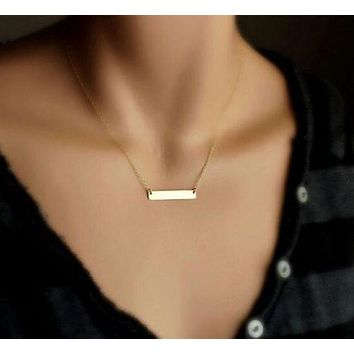 Trendy 14K Gold Horizontal Bar Pendant Necklace