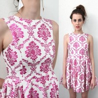 sale METALLIC PINK FLORAL PAISLEY PRINTS CUT IN ARMS PLEATED DRESS 6 8 10 12