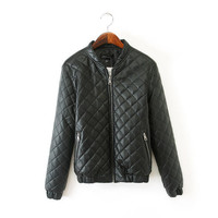 Black Quilted Elastic Hem Faux Leather Jacket