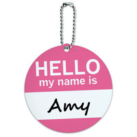 Amy Hello My Name Is Round ID Card Luggage Tag