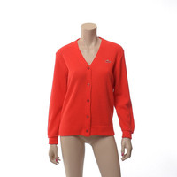 Vintage 70s Izod Lacoste Red Orange Cardigan Sweater 1970s Golf Tennis Preppy Boyfriend Alligator Emo Hipster Sweater / Womens size M