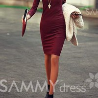 Solid Color Long Sleeve Simple Style V-Neck Cotton Packet Buttock Dress For Women