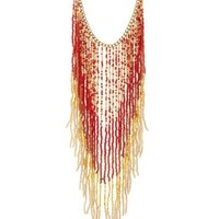 Multi Beaded Ombre Fringe Statement Necklace by Charlotte Russe
