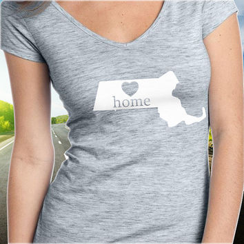 Massachusetts Home T-Shirt - V-Neck - State Pride - Home Tee - Clothing - Womens - Ladies