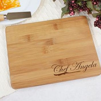 Engraved Chef Bamboo Cheese Board