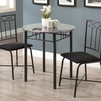 Dining Set - 3 Piece Set - Grey Marble - Charcoal Metal