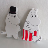 SALE Cute Moomin Magnet Set , Wooden 4 Piece, Wood Animal Magnet Set, Home Decor, Cabin Decoration, Wood Cutout, Kitchen